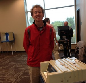 Connor Cain votes for the first time