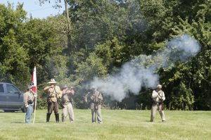 A battle between cannons and muskets ensued at the Caledonia Historical Society's event on Sunday at Linwood