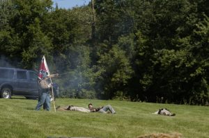 A battle between cannons and muskets ensued at the Caledonia Historical Society's event on Sunday at Linwood Park.