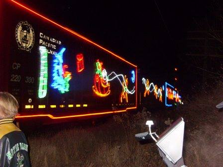 The Canadian Pacific Holiday Train rolled through Sturtevant on Sunday at about 5:20 p.m. (Photo by Paul Holley)