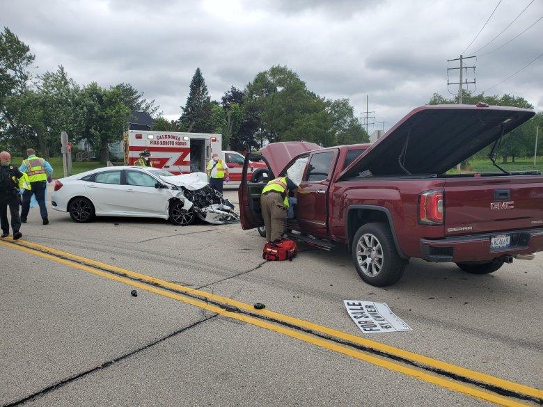 three-car crash, Caledonia, WI