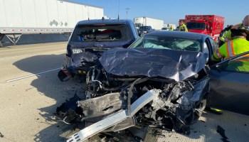 Driver crashes car patrol car on I-94