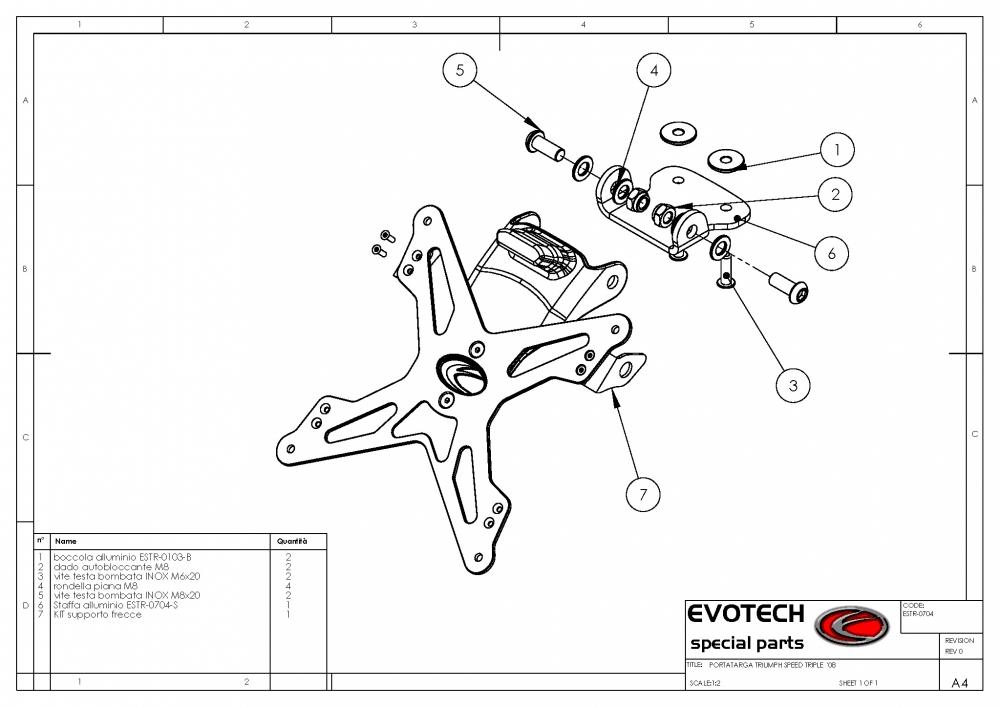 Support De Plaque Evotech Triumph Speed Triple + LED