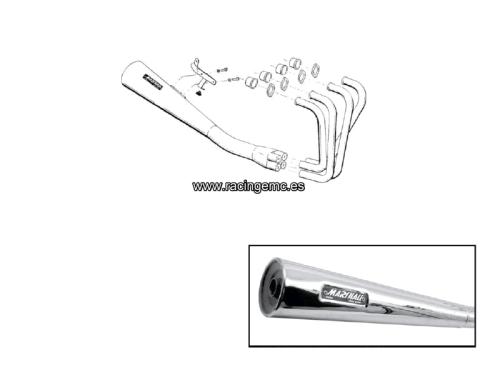 Escape Completo 4-1 Laser Marshall Deeptone Cromo Suzuki