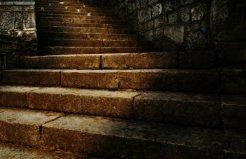 dark stone staircase
