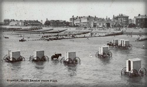 Bathing machines along the coast.