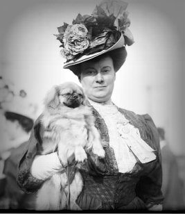 Victorian woman holding dog.