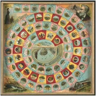 Racing Nellie Bly Board Game, 1890.