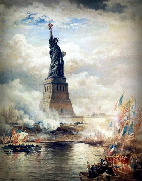 Edward Moran, Unveiling Statue of Liberty,1886.