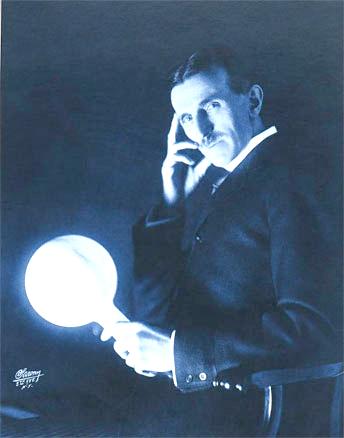 Nikola Tesla Demonstrates Wireless Power Transmission.