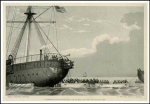 Lithograph Of Laying Cable By John Raphael Isaac, 1857.