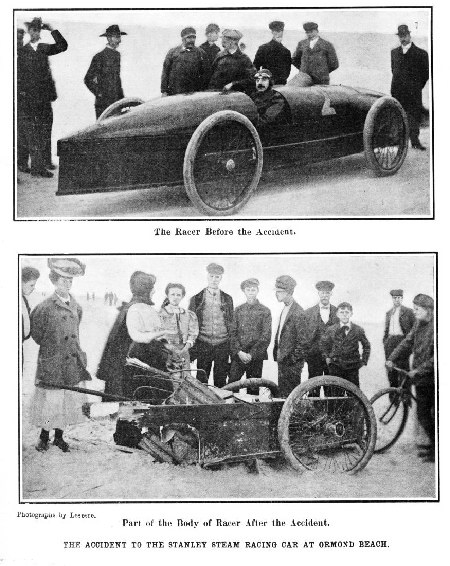 Stanley Racer: Sets Record, 1906; Crashes, 1907. Scientific American.