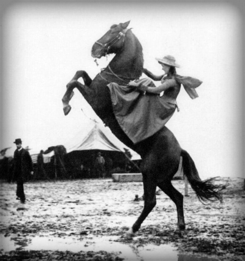 Annie Oakley On Rearing Horse.