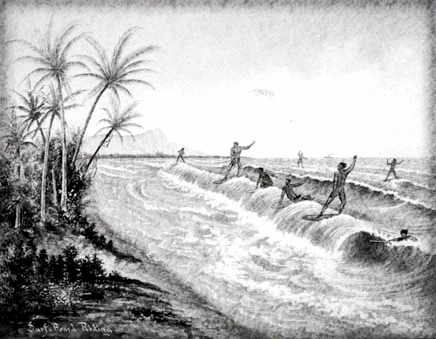 Early Surfers: Drawing Courtesy of Bishop Museum.