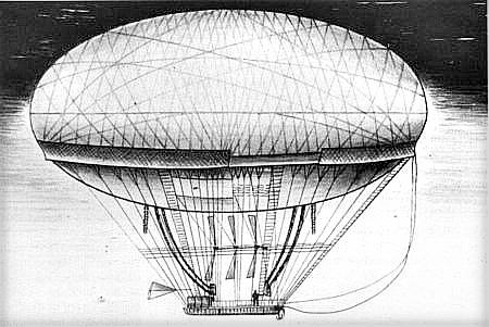 Airship, Jean-Baptiste Meusnier de La Place, 1700s.