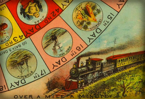 Nellie Bly Race Around World Board Game, 1890.