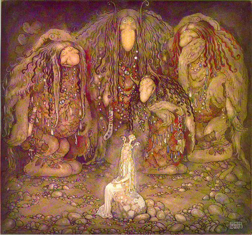"""John Bauer Illustration of Walter Stenström's """"The Boy And The Trolls,1915. Image: Wikipedia."""