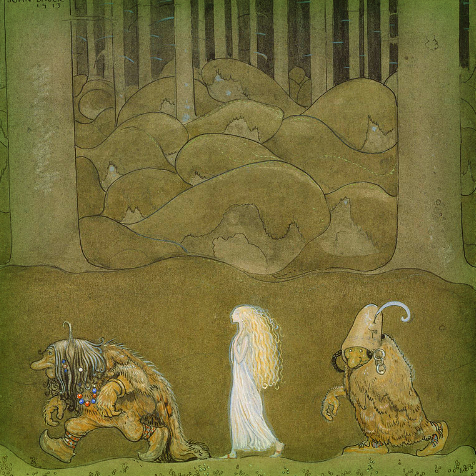 John Bauer, The Princess And The Trolls, 1913. Google Art Project, Wikipedia.
