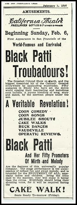 Ad For The Black Patti Troubadours, 1898.