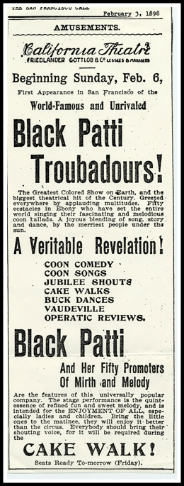 Ad For The Black Patti Troubadours, 1898.