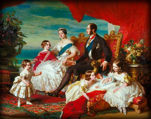 Queen Victoria, Prince Albert and Children by Franz Xaver Winterhalter, 1846. Wikimedia Commons.
