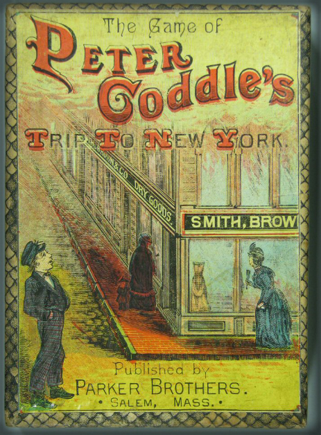 Peter Coddle's Trip To N.Y., Word Cards. Parker Brothers, 1890s.