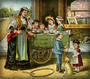 Victorian Era Ice Cream Vendor Illustration.