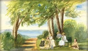 Queen Victoria's Sketch of Children at Seaside Retreat.