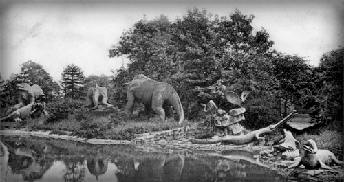 Crystal Palace Dinosaurs Postcard. Image: tetrapod-zoology.