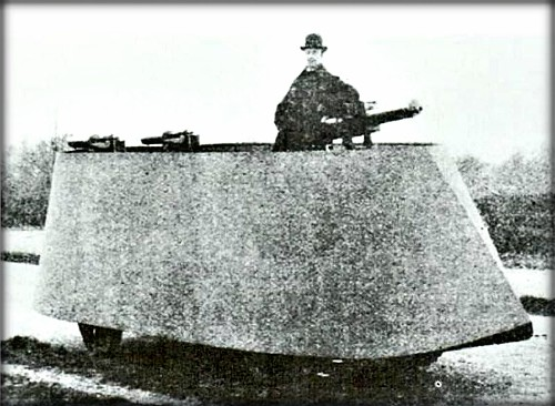 First Armored Cars: Frederick Richard Simms, Motor War Car, 1902. Image: Wikipedia.