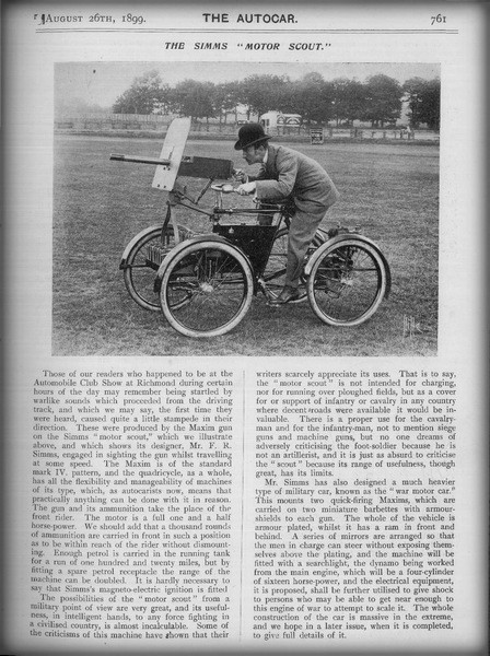 First Armored Cars: Frederick Richard Simms, Motor Scout. Image: Autocar Magazine Aug. 26 1899