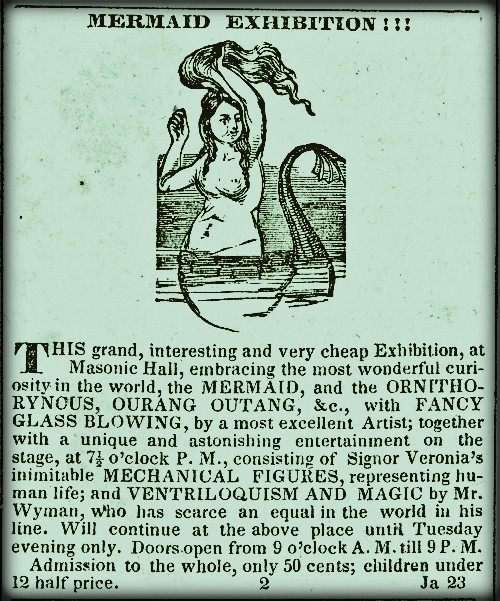 Victorian Era Mermaids: Barnum Feejee Mermaid Ad, 1842. Image: Wikipedia.