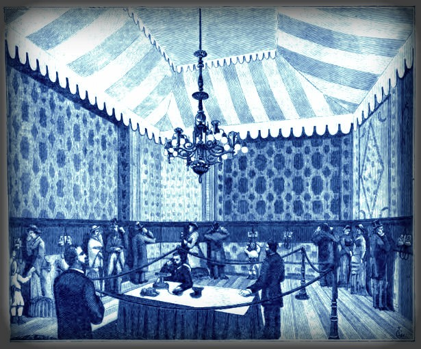 Paris Exposition of Electricity. 1881. Image: Nature, Oct. 1881.Image: Wikipedia.