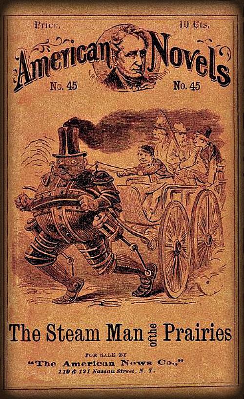 Steam Man Of The Prairies, 1868. Image: Wikipedia.