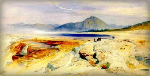 Thomas Moran Yellowstone Paintings: Great Hot Springs Gardiner's River. Image: Public Domain.