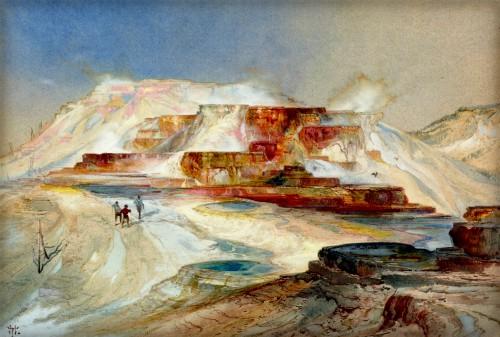 Thomas Moran Yellowstone Paintings: Hot Springs Gardiner's River 1874. Image: Public Domain.