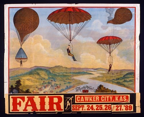 Poster of Kansas City Fair with four parachutes dropping through sky to a river below, 1889. Image: Public Domain.