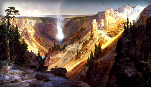 Thomas Moran Yellowstone Paintings: The Grand Canyon of the Yellowstone, 1872. Image: Smithsonian.