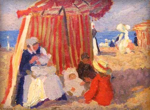 Ethel Carrick Fox, On The Beach, 1907-10. Image: artnet.com.