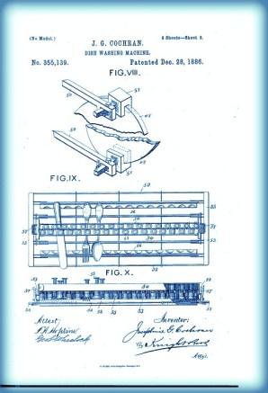 Josephine Cochrane, Dishwasher Patent. Image: Public Domain.