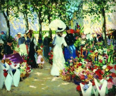 Ethel Carrick Fox, French Flower Market, 1909. Image: artnet.com.