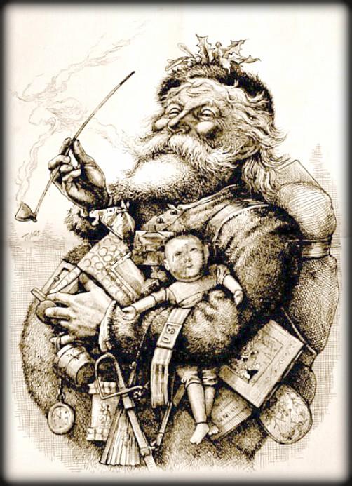 Victorian Santa by Thomas Nast, 1881. Image: Wikipedia.