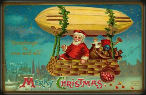 Victorian Santa In Dirigible. Image: Public Domain.
