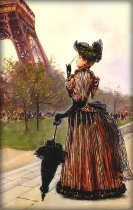 Victorian Era Lady in long dress standing Near the Eiffel Tower by Jean-Georges Béraud.