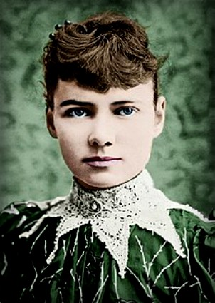 Nellie Bly reporter with green background.