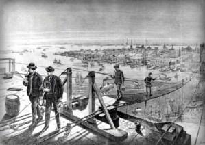 Footbridge During Brooklyn Bridge Construction. Image: National Archive.