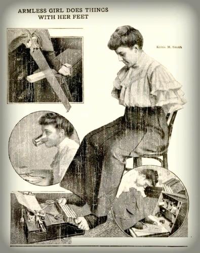 Armless Wonder Kittie Smith Pamphlet. Image: Popular Mechanics, 1913.