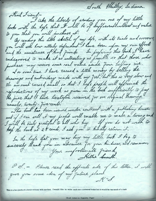Armless Wonder Kittie Smith Letter. Image: Library of Congress.