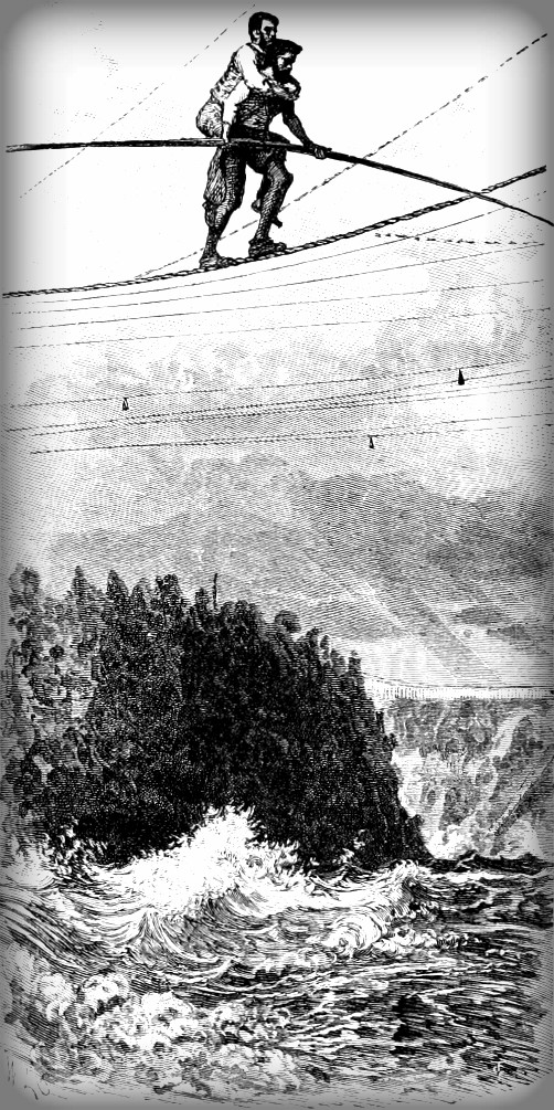 Blondin Crossing Niagara Falls With Agent. Image: Wikipedia.