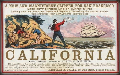 California Clipper Ship Poster, 1850. Image: Wikipedia.